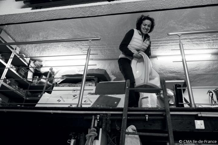 Nathalie Lafoux en plein chantier