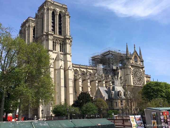 Photo de Notre-Dame de Paris au lendemain de l'incendie