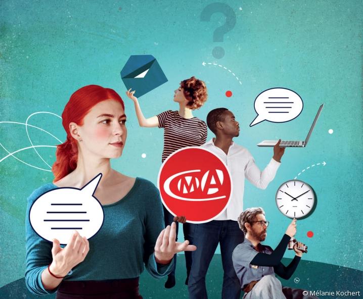 Création graphique illustrant le Grand débat des Artisans organisé par les CMA