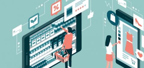 Illustration de clients regardant des devantures de magasins de centre-ville et achetant sur le web